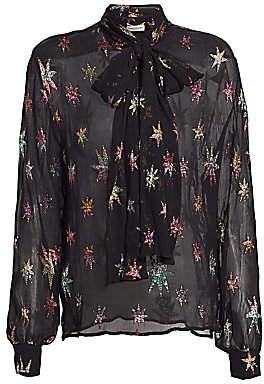 Saint Laurent Women's Metallic Star Sheer Button-Down Shirt