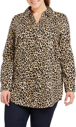 Foxcroft Faith Leopard Print Tunic Shirt