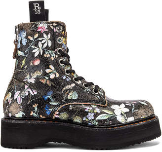 R 13 Single Stacked Lace Up Boots in Cracked WK6 Floral | FWRD