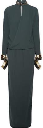 By Malene Birger Akumal Embellished Wrap-effect Crepe Maxi Dress - Emerald