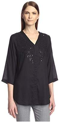 Society New York Women's Embellished Button Front Shirt
