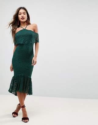 Asos DESIGN Bandeau Flutter Sleeve Lace Midi Pephem Dress