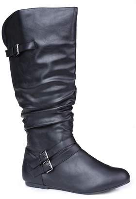 20182017 Boots Twisted Womens SHELLY Wide Width/Extended Calf Faux Leather Knee High Scrunch Buckle Strap Riding Boot Uk Sale