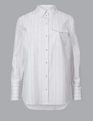 Marks and Spencer Pure Cotton Striped Long Sleeve Shirt