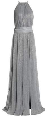 Halston Metallic Plissé Stretch-Knit Gown