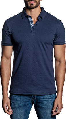 Jared Lang Semi-Fitted Floral-Trim Pique Polo Shirt