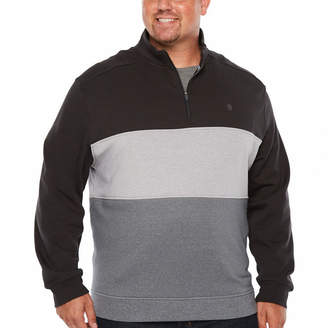 Izod Advantage Performance Color Blocked 1/4 Zip Fleece Long Sleeve Sweatshirt Big and Tall