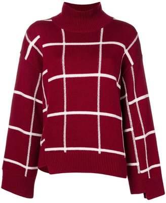 MRZ windowpane check turtleneck sweater