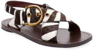 Marc Jacobs Women's Leather & Calf-Hair Flat Sandal
