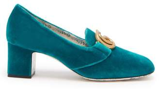 Gucci Velvet Gg Pumps - Womens - Blue