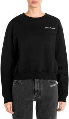 Off-White Quotes Cropped Crewneck Sweater