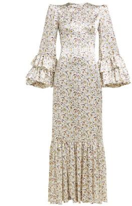 The Vampire's Wife Festival Ruffled Floral Print Silk Dress - Womens - Ivory Multi
