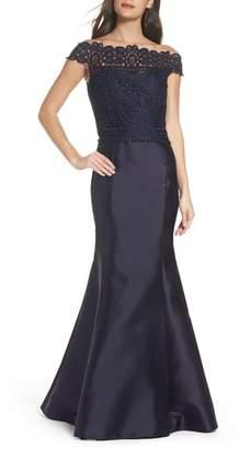 La Femme Lace & Twill Mermaid Gown