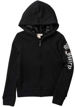 Juicy Couture Black Faux Fur Lined Fleece Zip Up Hoodie (Big Girls)