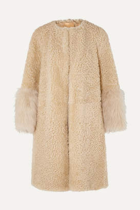 Prada Teddy Oversized Goat Hair-trimmed Shearling Coat - Camel