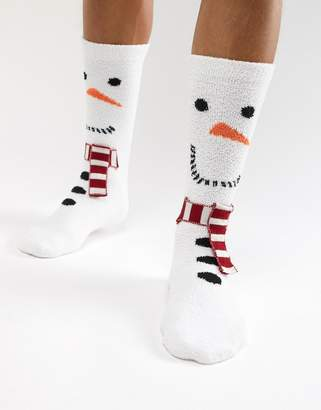 Asos Design DESIGN Christmas snowman socks with fluffy lining