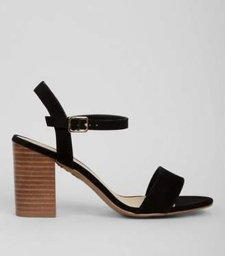 New Look Wide Fit Black Suedette Wood Heel Sandals