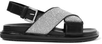 Marni Glittered Leather Slingback Sandals - Black