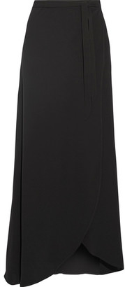Theory - Amaning Stretch-crepe Wrap Maxi Skirt - Black $355 thestylecure.com