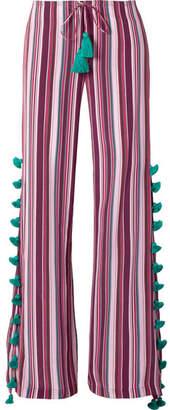 Figue Ipanema Striped Silk Crepe De Chine Wide-leg Pants
