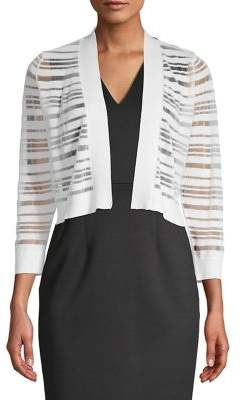 Calvin Klein Striped Open-Front Cropped Cardigan