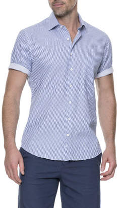 Rodd & Gunn Prosford Sports-Fit Fishes-Print Short-Sleeve Sport Shirt