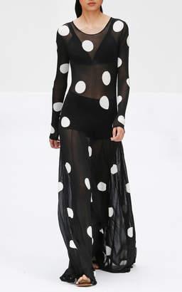 Carolina Herrera Polka-Dot Sheer Chiffon Maxi Dress Size: S