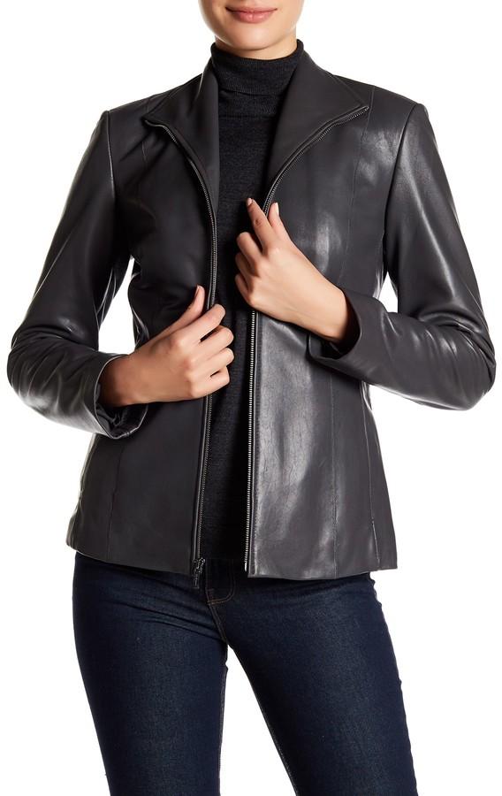 Cole Haan Cole Haan Genuine Lambskin Leather Front Zip Jacket
