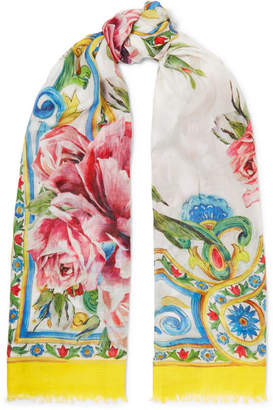 Dolce & Gabbana Maiolica Printed Modal And Cashmere-blend Scarf - Yellow
