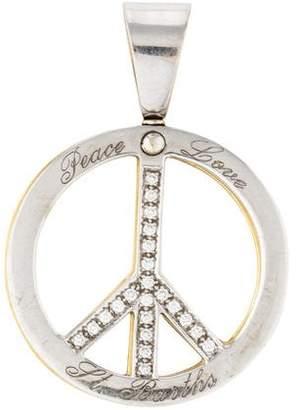 18K Reversible Diamond Peace Sign Pendant