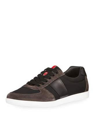 Prada Linea Rossa Nylon Low-Top Sneaker with Leather & Suede