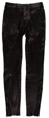 L'Agence Leather Mid-Rise Pants