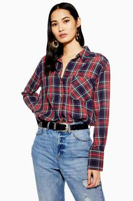 Topshop Womens Washed Check Long Sleeve Shirt