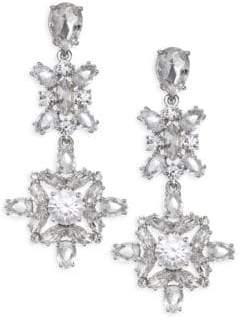 Kate Spade Crystal Floral Drop Statement Earrings