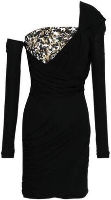 Roberto Cavalli One-shoulder Sequined Crepe And Stretch-jersey Mini Dress