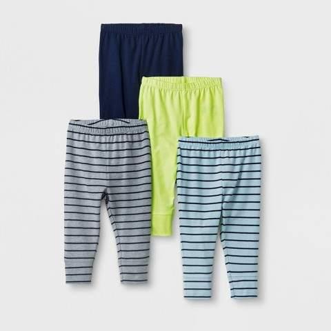 Baby Boys' 4pk Legging Pants Blue/Yellow