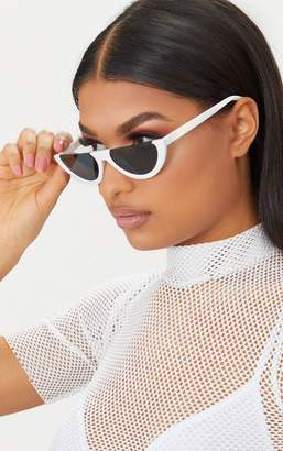 PrettyLittleThing White Rounded Half Frame Retro Sunglasses