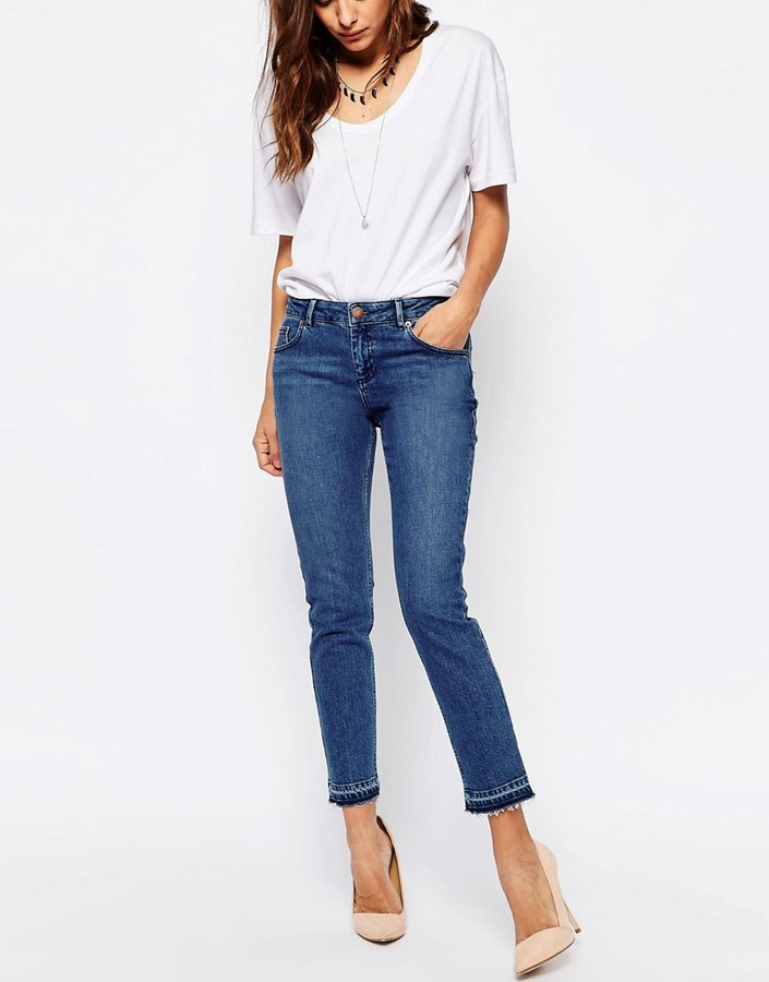 Asos Kimmi Shrunken Boyfriend Jeans With Let Down Hem in Mid Wash Blue