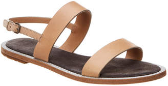 Brunello Cucinelli Two-Band Leather Sandal