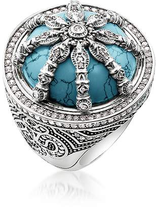 Thomas Sabo Blackened Sterling Silver & Synthetic Turquoise Ring w/White Cubic Zirconia
