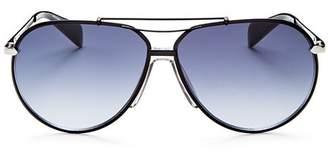 Rag & Bone Men's Runway Vintage Brow Bar Aviator Sunglasses, 63mm
