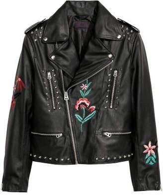 H&M Embroidered Biker Jacket - Black