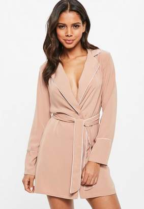 Missguided Nude Collar Detail Wrap Shift Dress