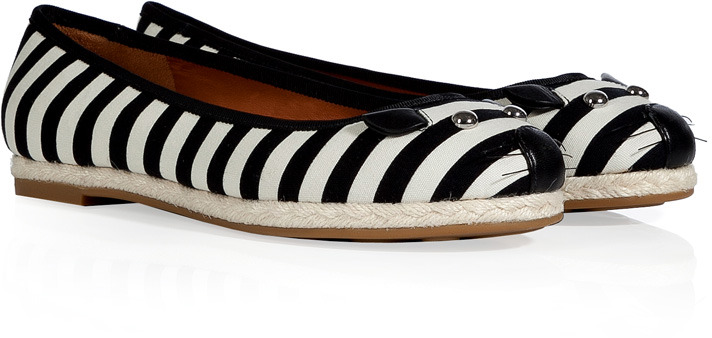 Marc by Marc Jacobs Black/Oatmeal Striped Canvas Mouse Espadrilles