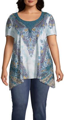Unity World Wear Short Sleeve Lace Yoke Sharkbite Tee - Plus