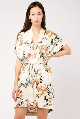 Azalea Floral Peach Kimono Dress