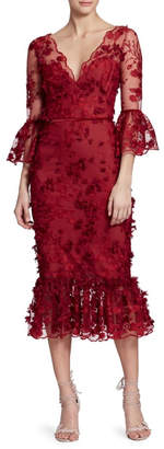 Marchesa 3/4 Sleeve Dress