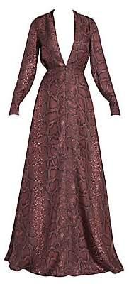 Victoria Beckham Women's Snake-Print Deep V-Neck Silk Gown