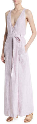 Leon Max V-Neck Racerback Sleeveless Linen Maxi Wrap Dress