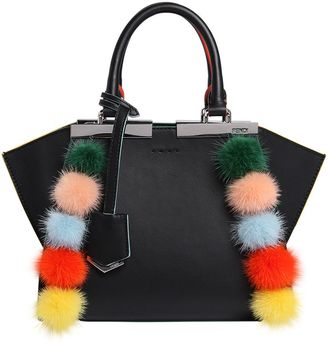 Fendi Small 3jours Mink Fur Pompom Leather Bag
